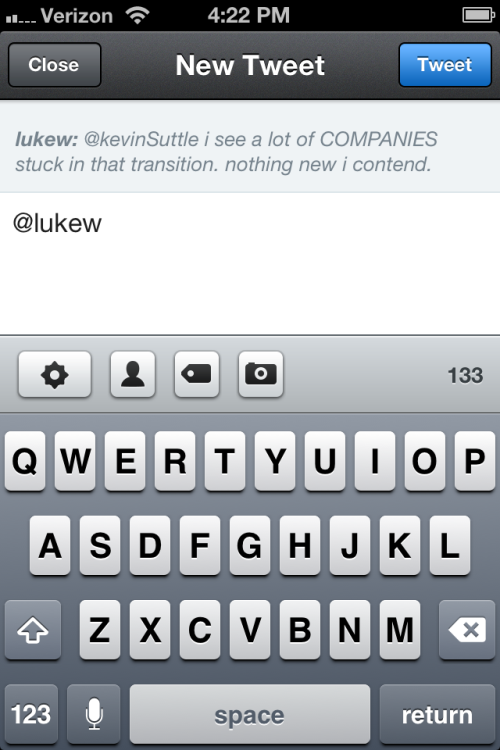 Tweetbot - When replying to a tweet, swipe down to see the original tweet and author. /via Kevin S.