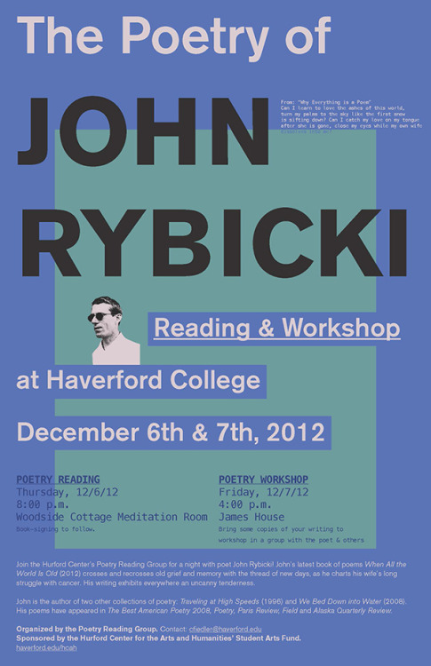 Lookout Books poet John Rybicki will be doing a reading and workshop at Haverford College next week.