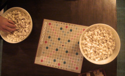 The perfect amount of popcorn for a long scrabble game.