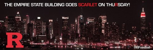 roadandtheradio:  The Empire State Building is going to be lit up scarlet red in honor of Rutgers for our Big East championship game over Louisville. I LOVE MY SCHOOL   LET'S FUCKING GO.