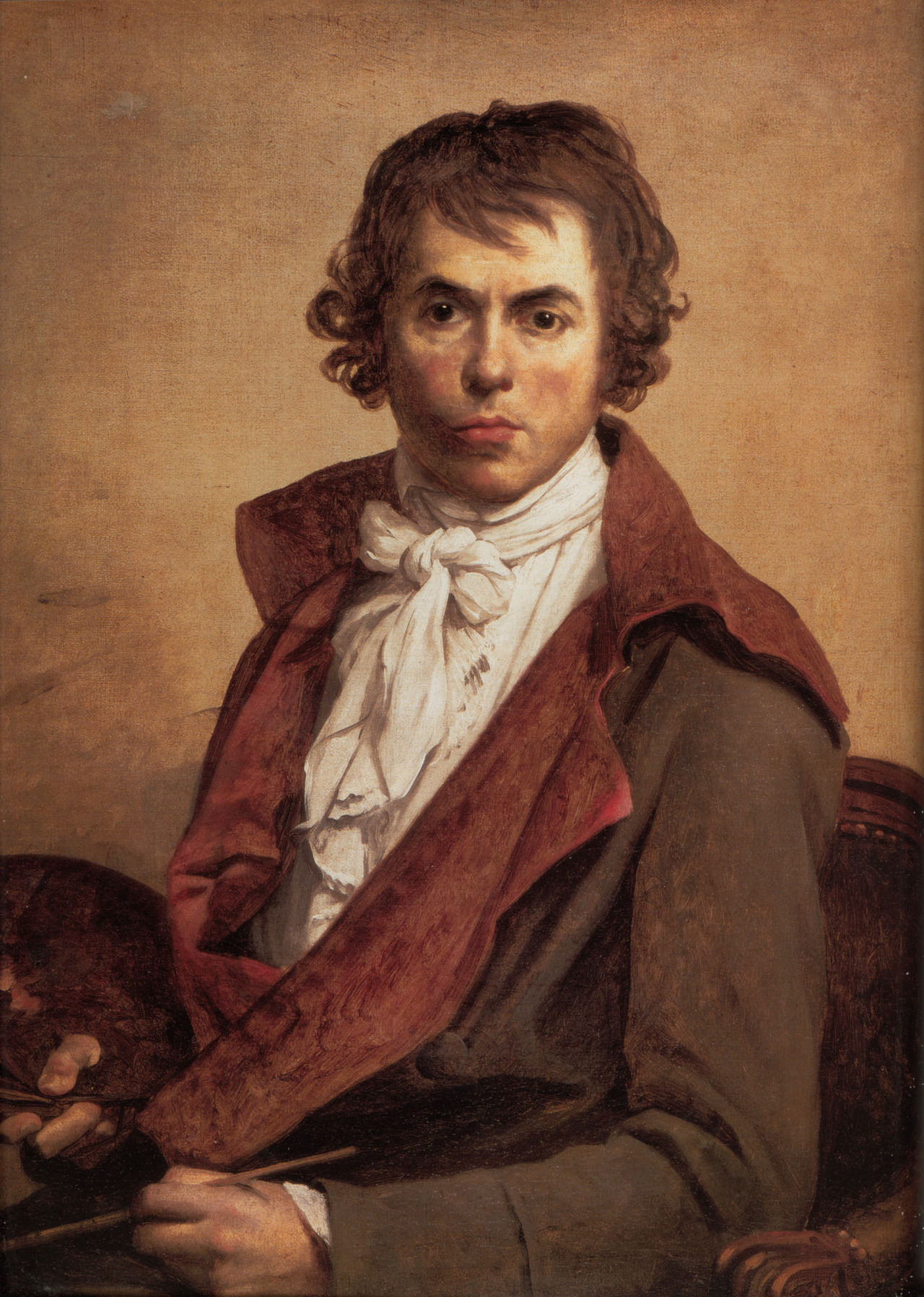 "Self Portrait, 1794 French painter Jacques-Louis David suffered, due to a fencing incident, from sword wounds to his face and mouth, visible in this self portrait. The scars near his mouth eventually caused an asymmetry in his facial expression and made it difficult to eat and talk. There are also records of a facial ""growth"" or swelling, but David may have been so self conscious of his disfigurement that he did not portray the full extent of it in his self portrait. Source"