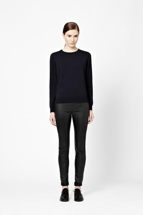 COS wool jumper merino wool black wool leather pants black leather