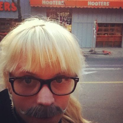 Day 19: My moustache tried to convince me to stop in at Hooters for some chicken wings. Forget it, moustache!