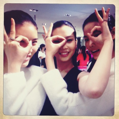 A-Ok.  Models Yue, Zihan and Lin wearing rose gold double rings at the ck Calvin Klein store in Beijing.