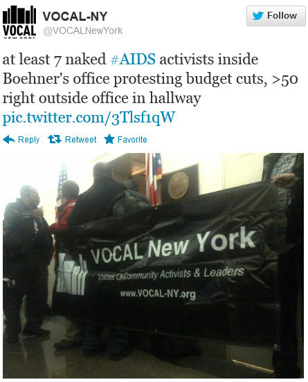 "Nude HIV/AIDS Protesters Storm House Speaker John Boehner's DC Office Joe.My.God. reports:  More from ACT UP New York: ""As the US Congress and President begin negotiating on the so-called fiscal cliff, ACT UP/NY ACT UP/Philadelphia, Housing Works and Student Global AIDS Campaign plan to give Congress a pre-World AIDS Day Message that AIDS Budget Cuts Kill.""UPDATE: Mediaite has a few more photos."