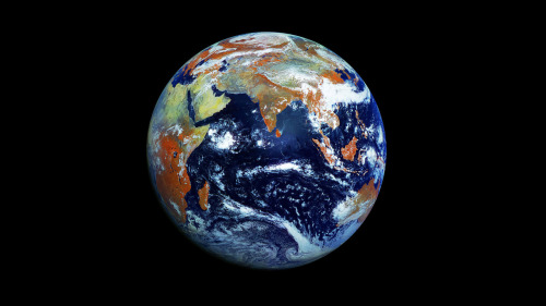 "Earth  ""The home planet of an emerging technical civilization, struggling to avoid self-destruction. The Earth travels some 2 and a half million kilometers every day around the Sun; eight times faster than that around the center of the Milky Way Galaxy; and, perhaps, twice faster still as the Milky Way falls toward the Virgo cluster of galaxies. We have always been space travelers."" — Carl Sagan  Image by the Russian Federal Space Agency"