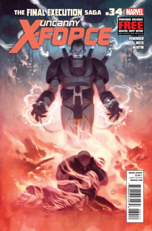Uncanny X-Force #35, January 2013, written by Rick Remender, penciled by Phil Noto