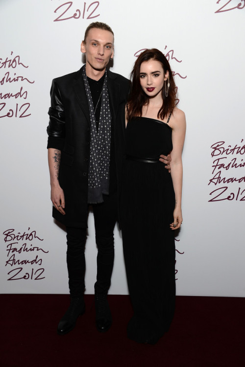 Jamie Campbell Bower and Lily Collins || British Fashion Awards at The Savoy Hotel in London on November 27, 2012