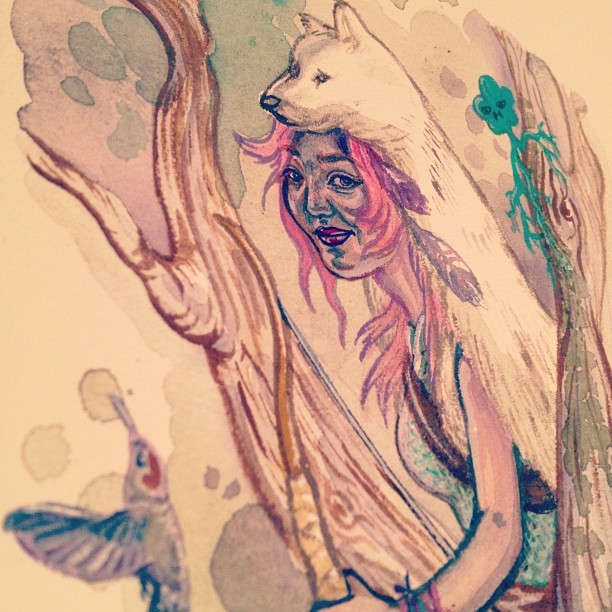 Close-up #wolfgirl #wolf #paint #art #hummingbird #lichen #sprite #nativeamerican #girl #mumbot