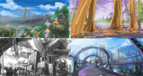 Landscape thumbnails  Four Concepts I came up with for my Final in one of my classes. We have to make some kind of background painting annnnd I'm not too confident in my backgrounds. In fact I hate them. I NEED MORE PRACTICEEE. From these four I chose the one with the city under the big tree so Imma be developing that one for the next 3 weeks along side other projects. :(