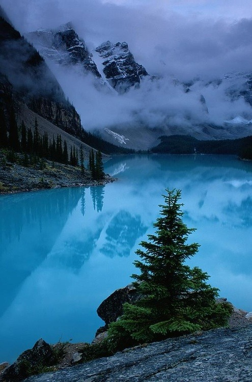 Winter Storm, Moraine Lake, Alberta, Canada photo via dianne