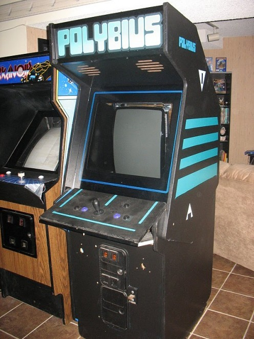 The Cabinet of Polybius  According to the story, an unheard-of new arcade game appeared in several suburbs of Portland, Oregon in 1981, something of a rarity at the time. The game proved to be incredibly popular, to the point of addiction, and lines formed around the machines, often resulting in fighting over who played next. This was followed by clusters of visits from men in black. Rather than the usual marketing data collected by company visitors to arcade machines, they collected some unknown data, allegedly testing responses to the psychoactive machines. The players themselves suffered from a series of unpleasant side effects, including amnesia, insomnia, nightmares, night terrors, and even suicide in some versions of the legend.