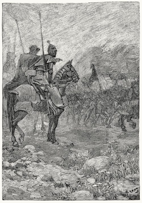 The three knights reconnoitring the Flemings in the mist.   Alfred Kappes, from The boy's Froissart, edited for boys with an introduction by Sidney Lanier, New York, 1879.  (Source: archive.org)