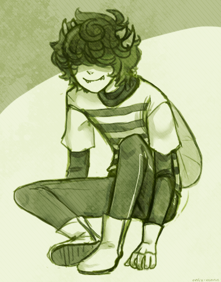 only-ronnie:  someone requested dandelion head mituna in his little be outfit, so here's a quick little sketch i might color one day~ ouo