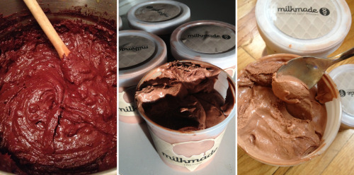 milkmadeicecream:  oh nothing, just making (and taste-testing) some Dark Chocolate Ice Cream. à la Mast Brothers.