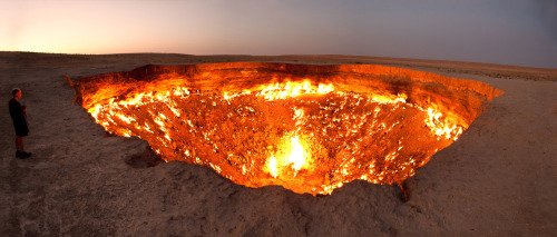 "The Door to Hell While drilling in 1971, Soviet geologists tapped into a cavern filled with natural gas.The ground beneath the drilling rig collapsed, leaving a large hole with a diameter of 70 meters (230 ft). To avoid poisonous gas discharge, it was decided the best solution was to burn it off. Geologists had hoped the fire would use all the fuel in a matter of days, but the gas is still burning today. Locals have dubbed the cavern ""The Door to Hell"""