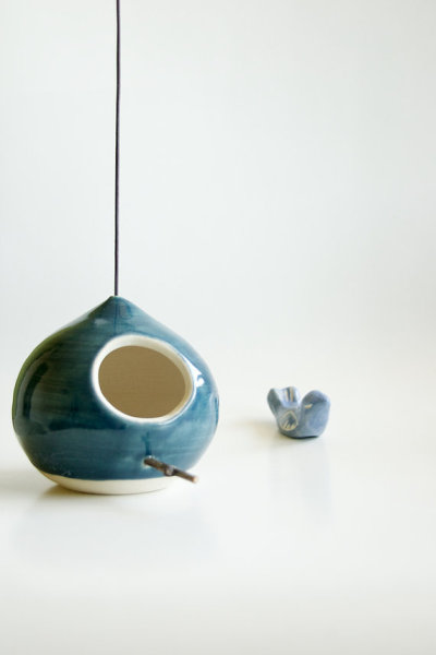 Ceramic Birdhouse in Teal by RossLab