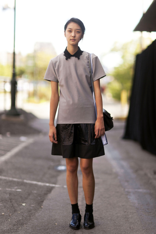 @iamsoyoung33 @marilynagencyny model street style during nyfw ss13  So Young just opened her online boutique www.iamsoyoung.com She sells some really cute clothes - I'm not sure if they ship outside of Korea.