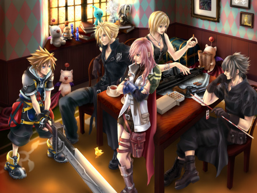 Kingdom Hearts, Final Fantasy, & Parasite Eve 'Nomura Family' by hummingbird712