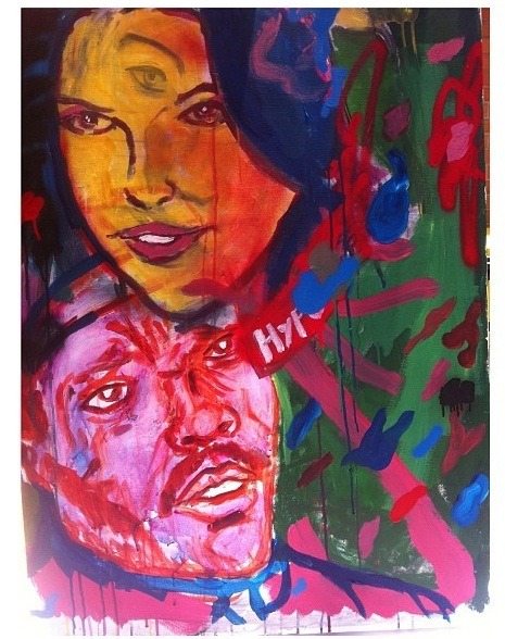 Hype. Acrylic, oil stick, spray paint on canvas. 2012