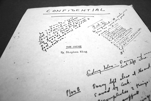 "the-overlook-hotel: Title page of a manuscript of Stephen King's novel of The Shining. This copy bears the book's original title, The Shine. Stanley Kubrick's handwritten notes on the front include:  Wendy could be ""strong"". Get satisfaction from Jack's failure and problems. She doesn't leave him because she ""needs him"". She needs to feel his weakness and frustration.   Previously on Cinephilia & Beyond:  A 1983 Playboy interview with Stephen King, about his young hungry days before he was published. In the same interview with Playboy in 1983, Stephen King stated:  ""The real problem is that Kubrick set out to make a horror picture with no apparent understanding of the genre. Everything about it screams that from beginning to end, from plot decision to the final scene – which has been used before on The Twilight Zone."""