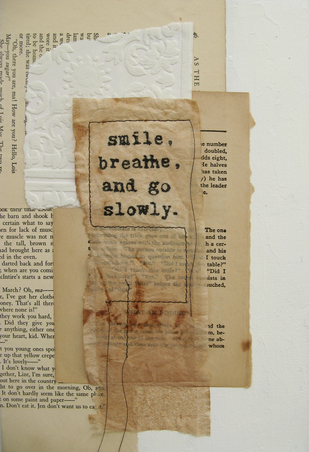workman:  ancagray: go slowly.  mixed media collage.  anca gray.  2012.