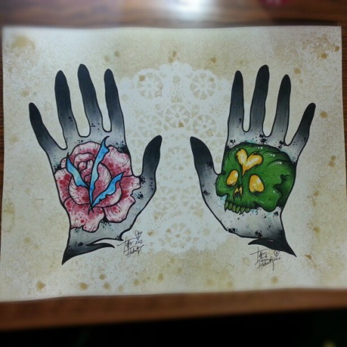 Done :)) #hands #rose #skull #markers #copicmarkers