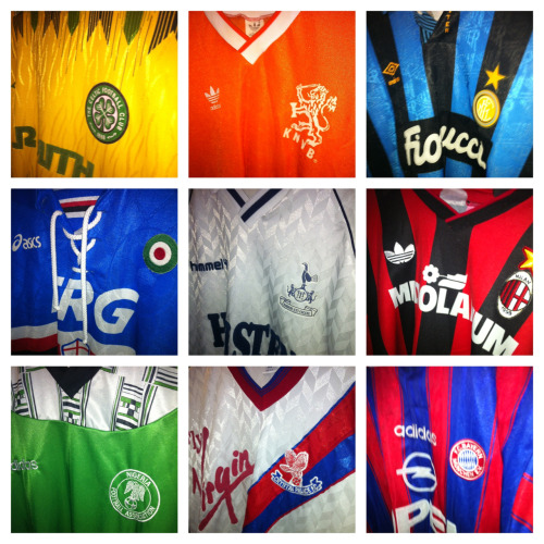 I went to see an amazing football shirt collection yesterday (more on that later).  Can you guess all the shirts?