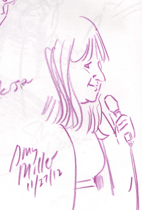 portlandstandupsketchbook:   Amy Miller. Funhouse Lounge. From the sketchbook of Jason Traeger.