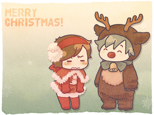 "kaito-and-meiko:  By ○-○√.   ""Tonakai"" is Japanese for ""reindeer.""  So LOTS of reindeer-Kaito."