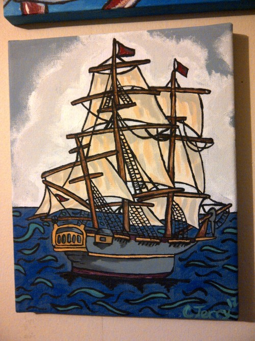 streetcornercrushes:  finished a smaller painting today, it will make a fine addition to my nautical themed bedroom when I finally finish setting it up!  So amazing! You should do a couple more in the same style. I want one.