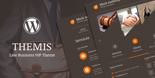 Themis - Law Business WordPress Theme Themis is a modern business theme that is perfect for lawyers, law firms, attorneys, judges, legal corporations, justice corporations and for any legal and law related businesses. Home page is based on vertical columns or tabs, each tab represents a single page. If there is more then five home page tabs, the navigation arrows appear. You can choose one of 10 predefined tab images or upload your own and one of 40 predefined tab icons. Under apperance / theme options / plugins, you can set different transition effects, transition speed, easing, autoplay options and many more. Theme contains descriptive about page with slider, accordion, 20 predefined feature icons to choose, team section. Faq page with faq accordion. Services and pricing page. Blog page with comments, many sidebar plugins. Testimonial page. Different gallery layouts pages. Contact page with working contact form, configurable map of location and 20 predefined social icons. 24 predefined shortcodes for different page elements.