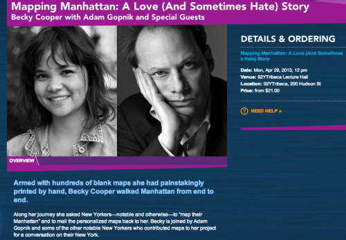 Save the date! April 29th, 12pm at the 92nd Street Y in Tribeca! You can order tickets here.