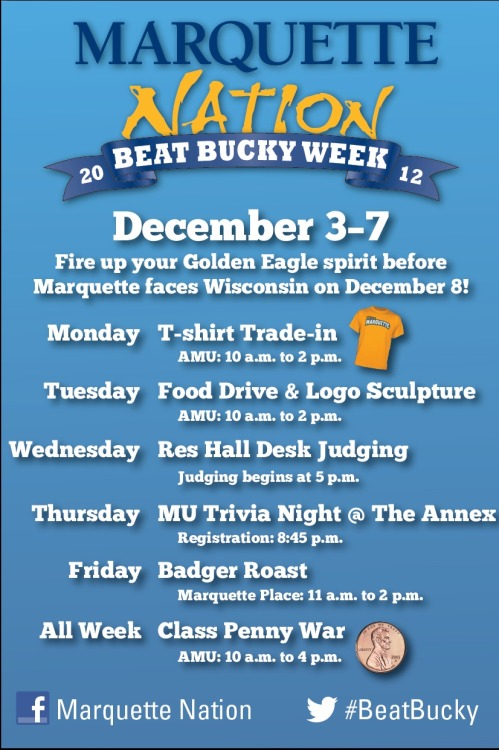 marquetteu:  #BeatBucky week is coming. Get a schedule of events here.   The #DestroyWisconsin week is upon us!