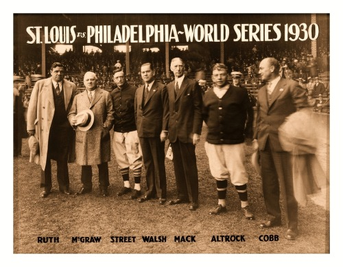 Babe Ruth & The Gang - 1930 World Series St. Louis vs. Philadelphia - Sportsman's Park, St. Louis(L-R) Babe Ruth, John McGraw, Gabby Street, Christy Walsh, Connie Mack, Nick Altrock & Ty Cobb