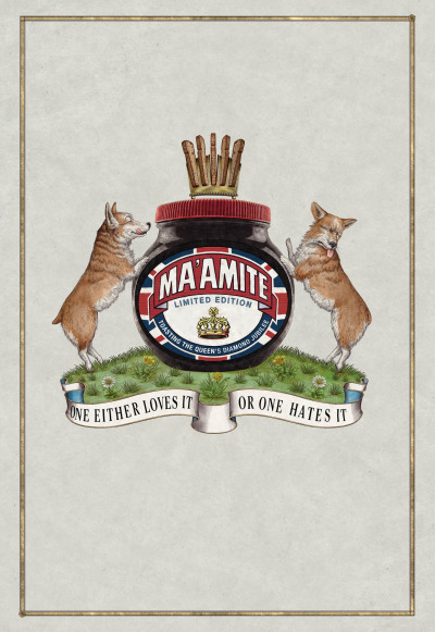 "Marmite Limited Edition Jubilee Jar Ad by adam&eveDDB ""Marmite launched a nationwide outdoor campaign to showcase the limited edition 'Ma'amite' Jubilee Jar by playing on the 'love it or hate it' positioning with the Queen's treasured corgis. The outdoor poster ad features a twist on the Royal crest; it has a pair of corgis reacting to the Marmite and a quirky crown-like rack of toast. The slogan 'One either loves it or one hates it' completes the design, adding a tongue-in-cheek Royal twist to Marmite's traditional message."""