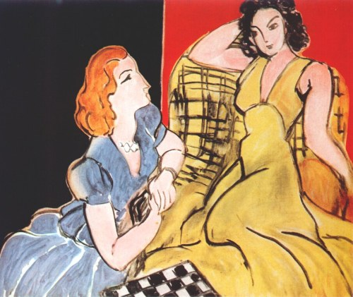 fashioninpaintings:  The Conversation (Yellow Dress and Blue Dress) by Henri Matisse, 1941