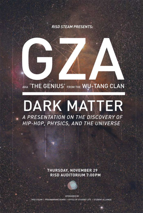 Happy to announce that the student-run RISD STEAM Club has secured GZA on November 29, at 7PM in the RISD Auditorium! -JM