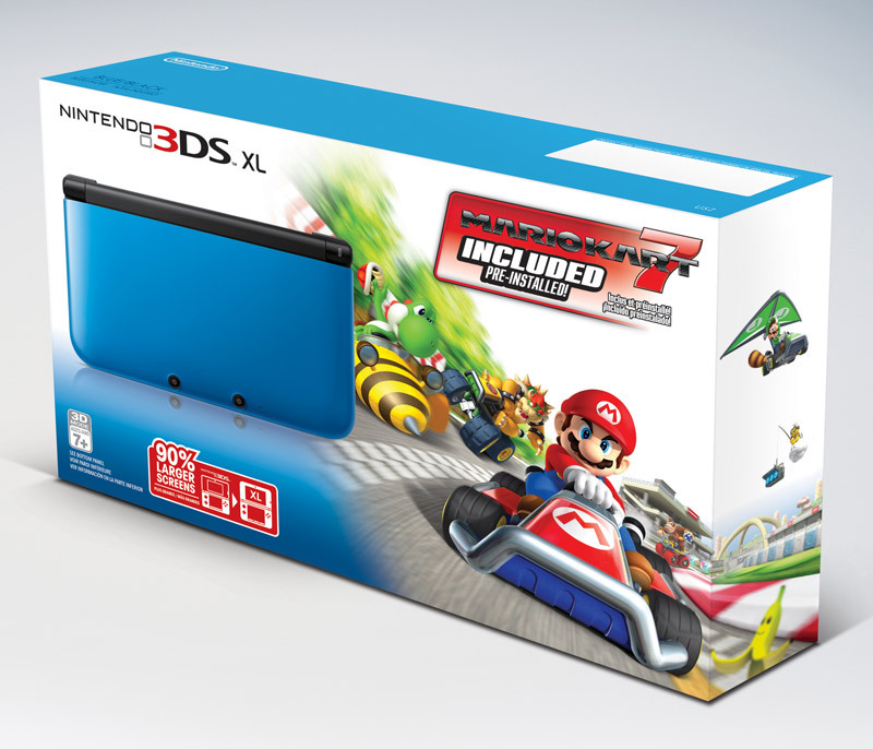 This Blue/Black Nintendo 3DS XL bundle with Mario Kart 7 pre-installed goes on sale for $200 starting December 2 — another decent system deal, considering the handheld alone is typically sold for that price. Whats really interesting about this news is it falls in line with recent gossip that the standard-size 3DS will be sold for $140 by at least one retailer soon. Buy: Mario Kart 7See also: More Mario Kart 7 posts