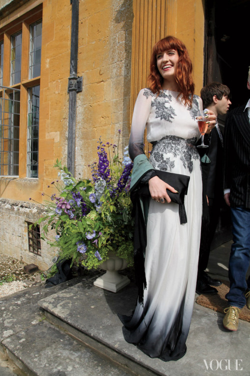 Florence Welch at Mary Charteris's wedding photographed by Rachel Chandler for Vogue, December 2012