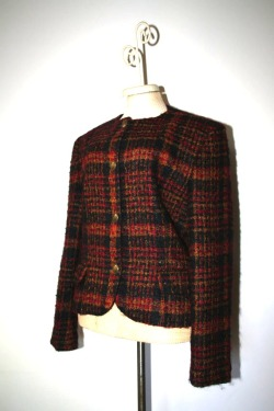 Vintage 1980s Burgundy Plaid Blazer [click to se our Etsy shop]