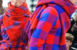 Plaid scarves with plaid flannel shirts