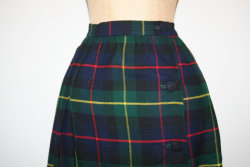 Vintage 1970s Wool High Waisted Plaid Skirt [click here to see our Etsy shop]