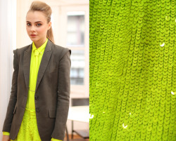 marissa-webb:   style it: lidia in our neon yellow silk tie blouse + hand beaded sequin shorts and our genevieve jacket in nocturnal sage.