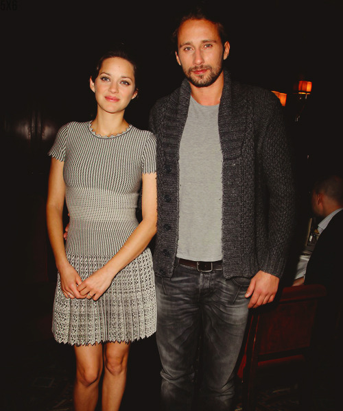 Marion Cotillard and Matthias Schoenaerts at 'Rust and Bone' private luncheon at Brasserie Ruhlmann in NYC (27/11/12)