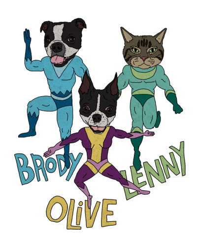 Brody, Olive, & Lenny (commissioned by Darleen) Want us to draw your pet?