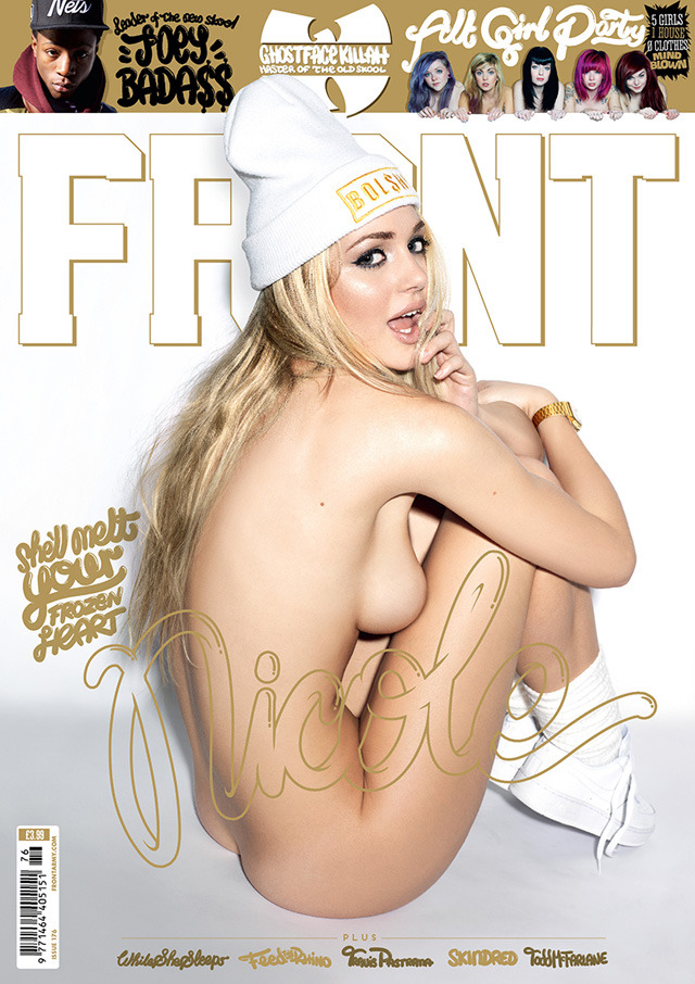 frontmagazine:  Flipping hell! It's only a brand new sexy-as-shit edition of your favourite magazine. FRONT 176 hits shelves tomorrow (29 November) or today if your newsagent kicks serious amounts of arse. Holidays are coming, we've all seen that shitting advert, so we're spreading the joy across these pages like jam on a crumpet. To celebrate this special time of year when we put dead trees in our living room and try to look excited at the prospect of socks, we've jammed a fuckload of girls into FRONT 176 – including a special Alt Girl feature that is stupid amounts of awesomesauce. (read more)  Most amazing FRONT magazine cover ever!