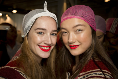 Neon red lipstick at Missoni's spring 2013 show.