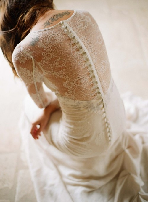 "claire pettibone couture bridal… ""mademoiselle""  Ivory long sleeved point d'epirit lace and linen skirt with gray toile inset and toile buttons"
