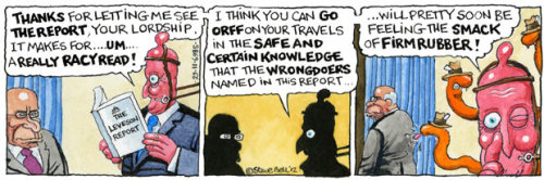 Steve Bell's If… David Cameron reads the Leveson inquiry.